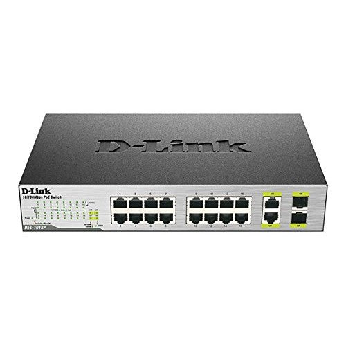 D-Link DES-1018P 16-Port Unmanaged Desktop PoE Network Switch