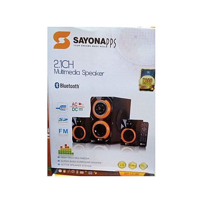 Sayona SHT-1212BT - 2.1 CH Subwoofer 7000W PMPO