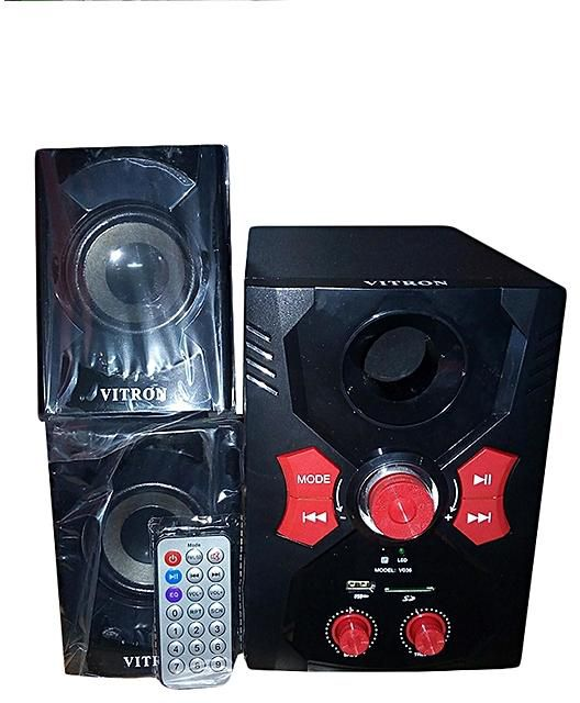 Vitron 2.1 Channel Subwoofer (V036)-2000W PMPO with Bluetooth/FM/USB/SD/MMC