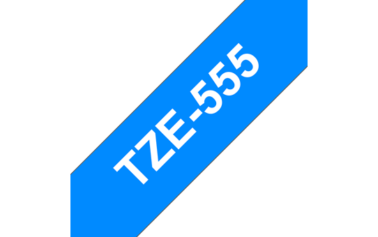 Brother TZe-555 Labelling Tape Cassette – White On Blue, 24mm wide