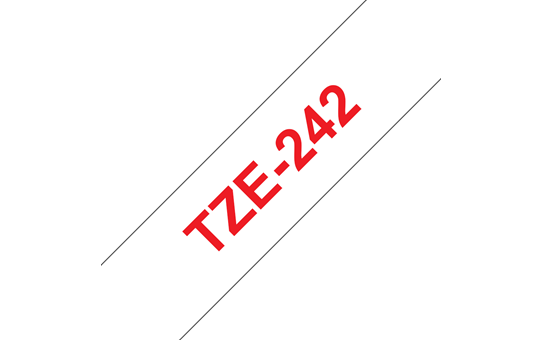 Brother TZe-242 Labelling Tape Cassette – Red on White, 18mm wide