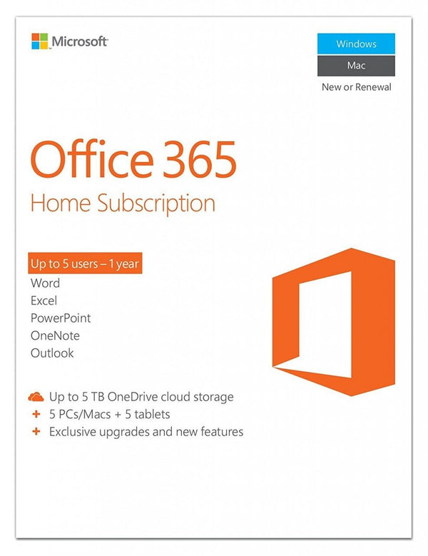 Microsoft Office 365 Home English Subscription 1YR Africa Only Medialess P2 - 6GQ-00686