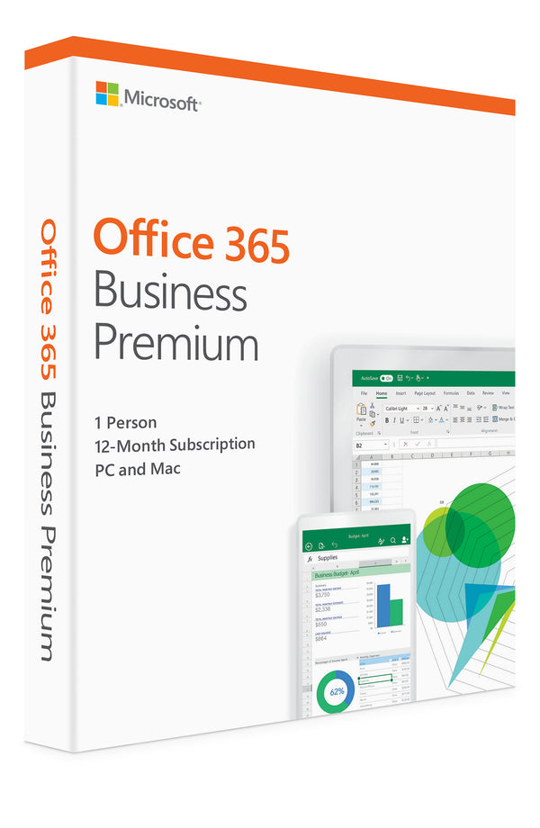 Microsoft Office 365 Business Premium | 12-month subscription, 1 person, PC/Mac Activation Card by Mail - KLQ-00424