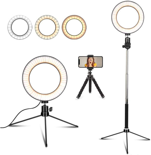 "6"" LED Dimmable Selfie Ring Light with Tripod Stand & Cell Phone Holder"