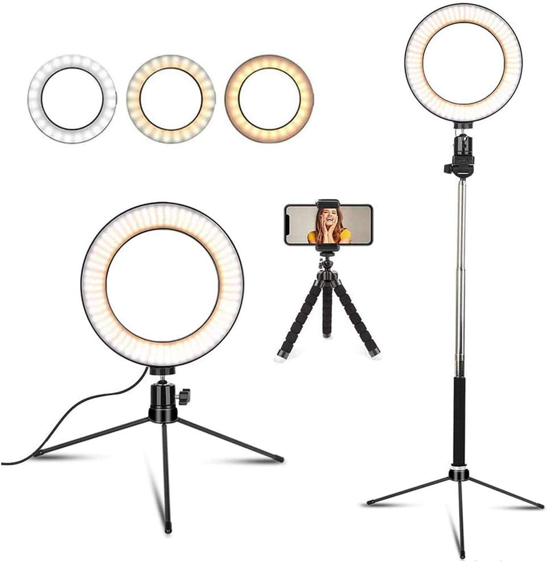 "14"" LED Dimmable Selfie Ring Light with Tripod Stand & Cell Phone Holder"