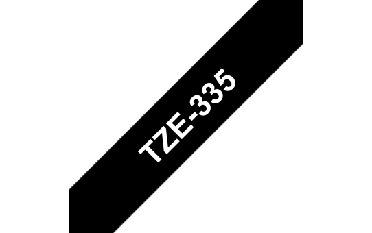 Brother TZe-335 Labelling Tape – White on Black, 12mm wide