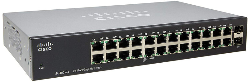 Cisco Compact 24-Port Gigabit Switch with 2 Combo Mini-GBIC Ports (SG102-24-NA)