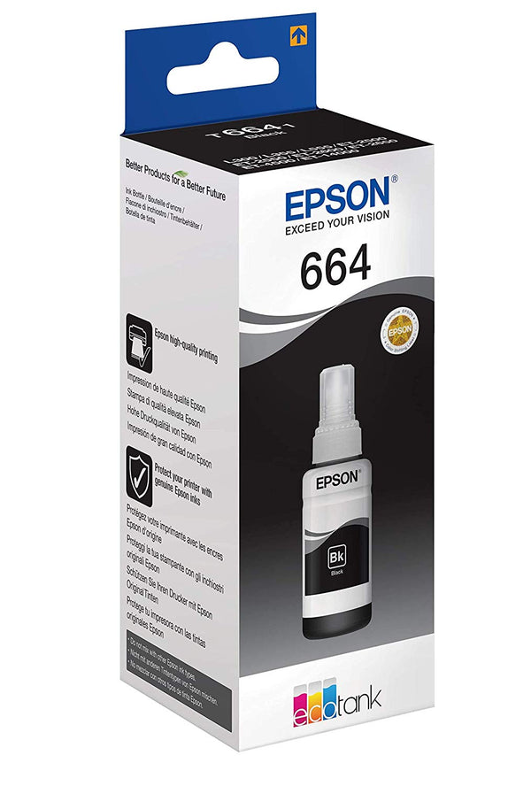 Epson T6641 EcoTank Black Color Ink Bottle 70ml Original Ink Cartridges for EcoTank L605, L565, L550, L486, L455, L386, L383, L365, L355, L310, L3070, L3060, L3050, L300, L220, L200, L210, l120, L110, L100, L1455, L1300 Printers