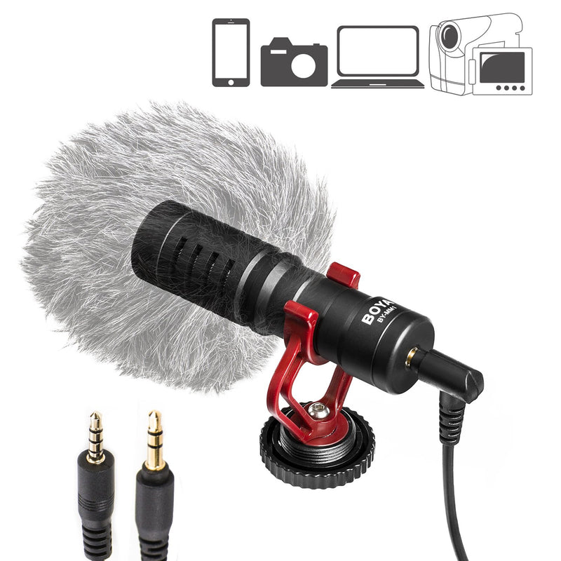 BOYA BY-MM1 Shotgun Video Microphone, Universal Compact On-Camera Mini Recording Mic