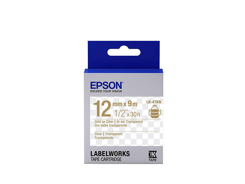 EPSON LabelWorks Cartridge Strong Adhesive LC-4TBW9 Black on Clear 12MM (9MM)