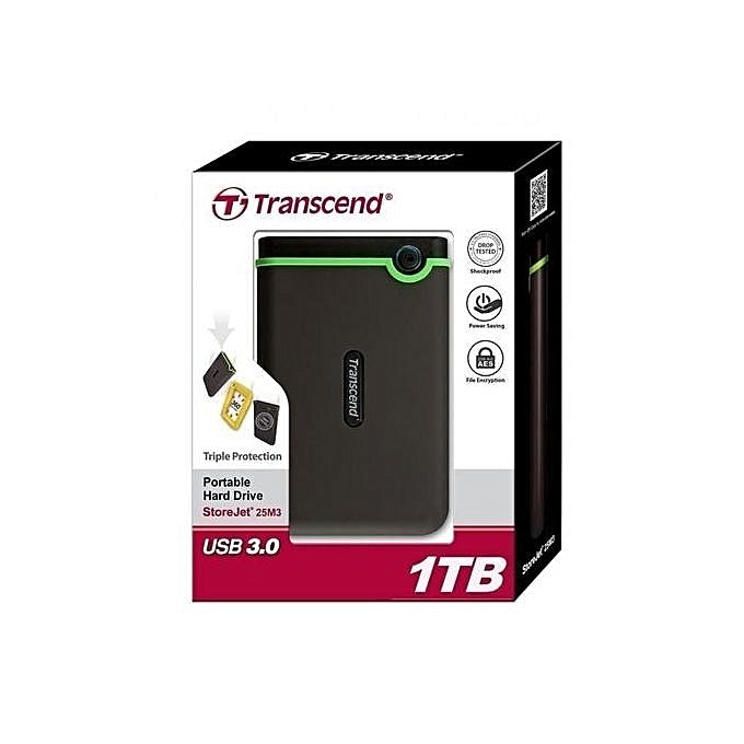 Transcend 1TB StoreJet M3 Military Drop Tested USB 3.0 External Hard Drive