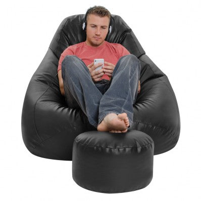 Filled Bean Bag With Footrest | Black XXXL Bean Bag | Best Quality Bean Bag
