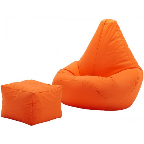 Knix XXL Bean Bag With Footrest | Filled Bean Bag | Orange