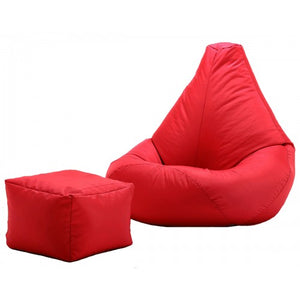 Filled Red Bean Bag | XXXL Bean Bag With Footrest |  Comfortable Bean Bag