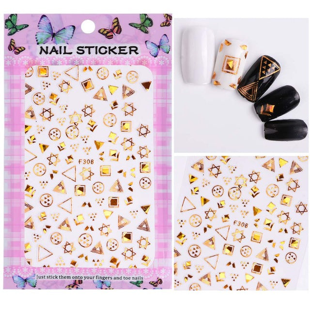 1 Sheet Embossed 3D Nail Stickers Blooming