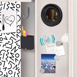 WallPops Doodle Locker Kit-SKU#WPL3191-black and white wallpaper, magnets, mirror, dry erase board, and pencil box.
