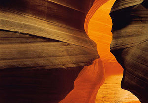 Side Canyon Wall Mural-canyon opening, with fascinating details of layers of rock and the beautiful golden colors