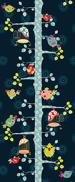 My Size Wall Mural-marking your child's height in a door frame as they grow, this door mural provides a fun space to keep track of their height! An enchanted tree full of patterned birds joins in the fun.
