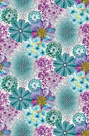 Marisol Wall Mural-Lively shades of turquoise, aquamarine, lavender, magenta, and plum are an enchanting splendor of color on grasscloth.