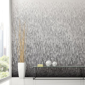 A-Street Prints Amaya Black Wall Mural-SKU#2764-24364-Brushstrokes create an abstract rainfall in black and white.