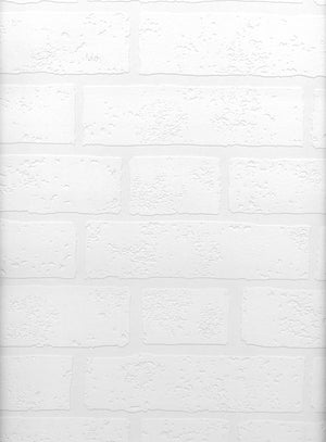 Bridgers Paintable Brick Wallpaper-SKU#2780-99423 paintable exposed brick wallpaper. With a heavily textured pattern. done in white