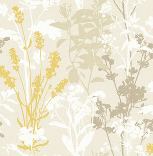 Conant Light Yellow Wild Flowers Wallpaper-yellow, taupe and cream floral wallpaper. Its silhouette design creates a modern look, while its linen inspired background adds to its organic style.