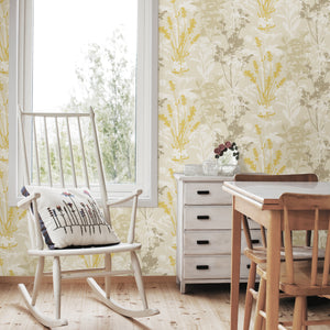 Conant Light Yellow Wild Flowers Wallpaper-yellow, taupe and cream floral wallpaper. Its silhouette design creates a modern look, while its linen inspired background adds to its organic style.   hung in kitchen