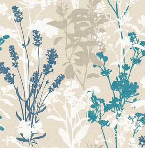Conant Teal Wild Flowers Wallpaper-White, teal and beige flower silhouettes blossom against a linen inspired background.