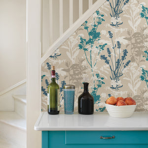 Conant Teal Wild Flowers Wallpaper-White, teal and beige flower silhouettes blossom against a linen inspired background.  on the side of a staircase.