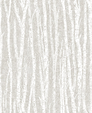 Flay Taupe Birch Tree Wallpaper-With a hand sketched design, this birch tree wallpaper has an eclectic look. Its light taupe and white hues emphasize its chic, organic style.