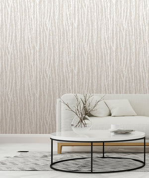 Flay Taupe Birch Tree Wallpaper-With a hand sketched design, this birch tree wallpaper has an eclectic look. Its light taupe and white hues emphasize its chic, organic style. hung in living room