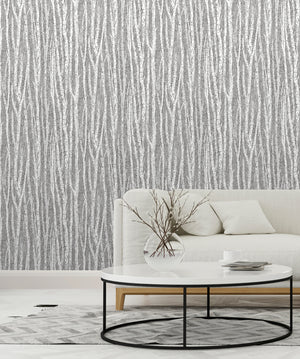 Flay Black Birch Tree Wallpaper-this birch tree wallpaper has a dazzling hand drawn design. Its black, grey and white hues create an intriguing monochrome print. hung in front room