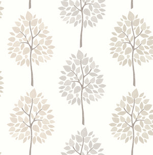 Tsai Grey Tree Wallpaper-Modern trees with a textured design glide across a white background in this striped wallpaper with its grey and neutral palette.