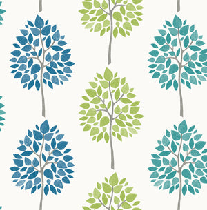 Tsai Multicolor Tree Wallpaper-Stripes of teal, blue and green trees pop against a crisp white background.