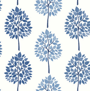 Tsai Blue Tree Wallpaper-this striped wallpaper is made up of beautiful and welcoming light and dark blue trees.