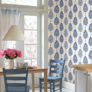 Tsai Blue Tree Wallpaper-this striped wallpaper is made up of beautiful and welcoming light and dark blue trees. hung in kitchen