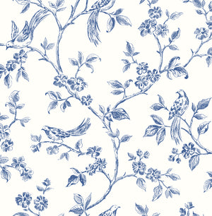 Ray Navy Bird Trail Wallpaper-Blue songbirds flutter about curling flower trails in this delightful wallpaper. Its hand drawn, navy pattern pops against a crisp white background.
