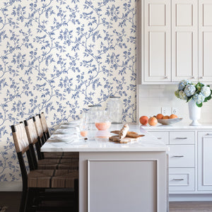 Ray Navy Bird Trail Wallpaper-Blue songbirds flutter about curling flower trails in this delightful wallpaper. Its hand drawn, navy pattern pops against a crisp white background.  hung in kitchen