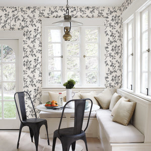 Ray Black Bird Trail Wallpaper-The curling trail pattern has birds perched among delicate flowers, while its hand drawn design adds to its fanciful style.  hung in kitchen