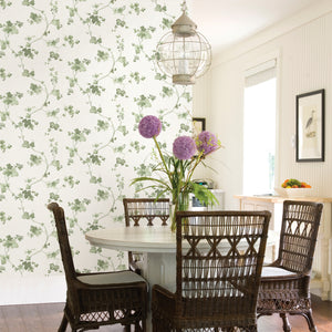 Symon Green Leaf Trail Wallpaper-Trails of green grape leaves curl about a cream background in this pleasant wallpaper with Faded hues and a slightly distressed background.  hung in dining area