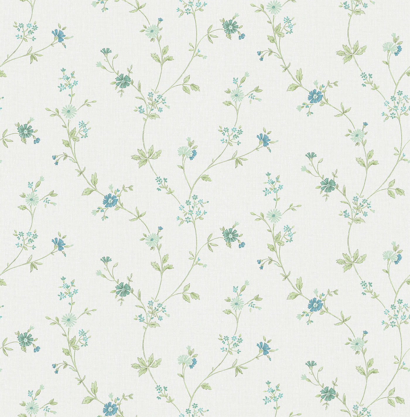 Sameulsson Light Blue Small Floral Trail Wallpaper Chic