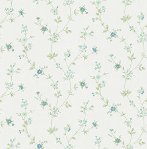 Sameulsson Light Blue Small Floral Trail Wallpaper-its hand painted design features delicate teal and light blue blossoms and floral trails.