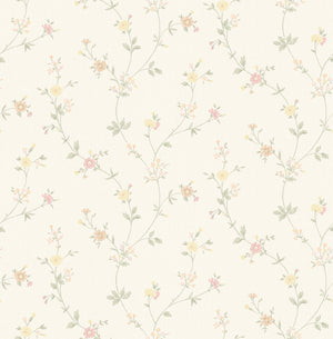 Sameulsson Eggshell Small Floral Trail Wallpaper-Curling sage green vines with blossoming yellow and pink flowers curl against an eggshell linen inspired background.