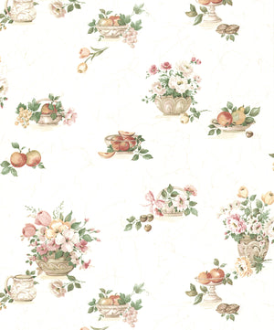 Puck Light Pink Fruit Basket Wallpaper-pink bouquets and delectable bowls of fruit, this peach and green wallpaper.  Its off-white background has the look of marble.