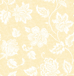 Guy Light Yellow Jacobean Wallpaper-Large white flowers twirl against a sunny background in this Jacobean wallpaper.