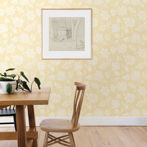 Guy Light Yellow Jacobean Wallpaper-Large white flowers twirl against a sunny background in this Jacobean wallpaper.  hung in dining area