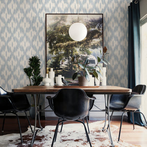 Keller Light Blue Ogee Wallpaper-The interplay of soothing greys, light blues, and cream colors creates a calming ogee print with this tie-dye print.  hung in dining area