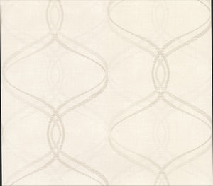 Waters Cream Ogee Wallpaper-A grey and shimmering silver ogee print with a cream background and geometric design.