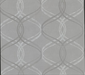Waters Grey Ogee Wallpaper-A cool grey fabric inspired background topped with a swirling taupe and white ogee print.