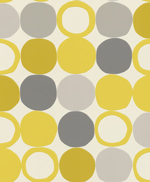 Beard Yellow Geometric Wallpaper-Its textured design features vibrant yellow, taupe and grey circles dancing across a crisp white background.